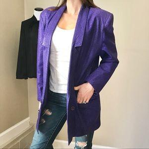 Vintage 80's Purple Oversized Leather Long Blazer